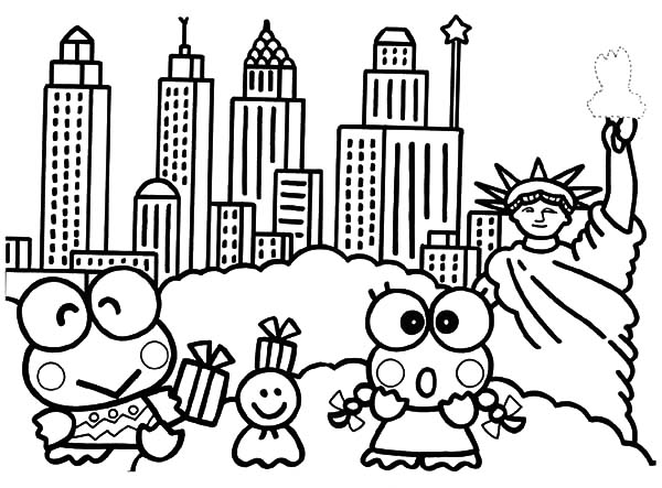 Keroppi, : Kero Kero Keroppi in New York Coloring Pages