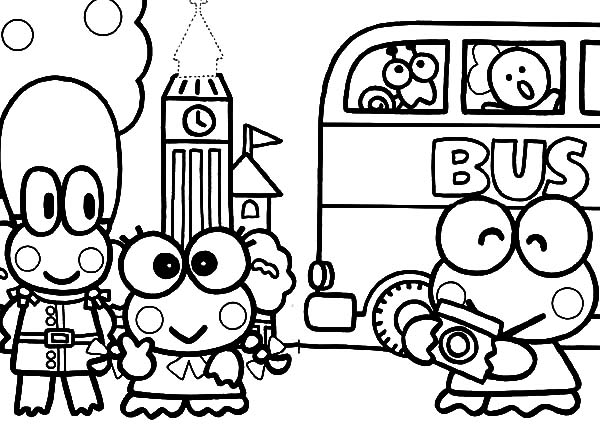 Keroppi, : Kero Kero Keroppi in United Kingdom Coloring Pages