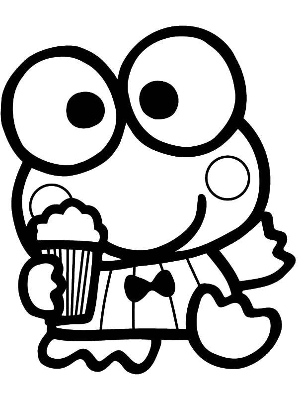 Keroppi Eat Popcorn Coloring Pages : Kids Play Color