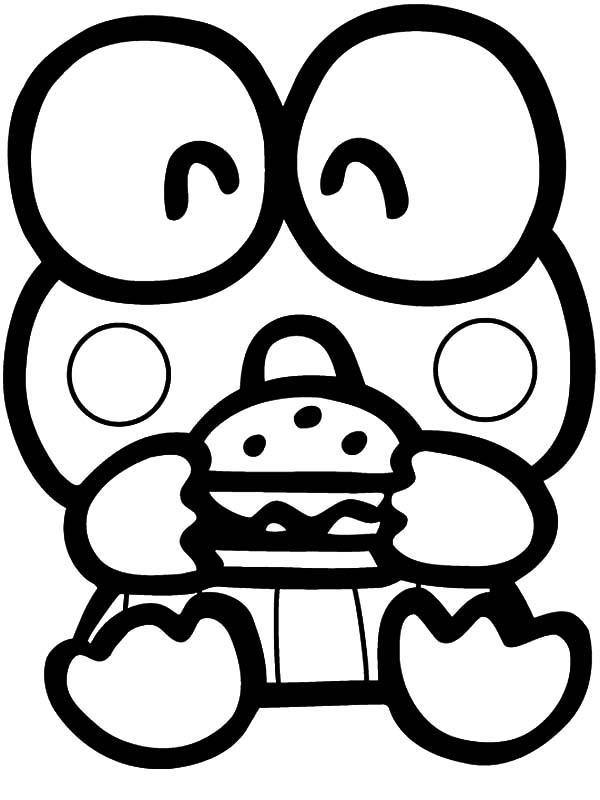 Keroppi, : Keroppi Had Delicious Burger Coloring Pages