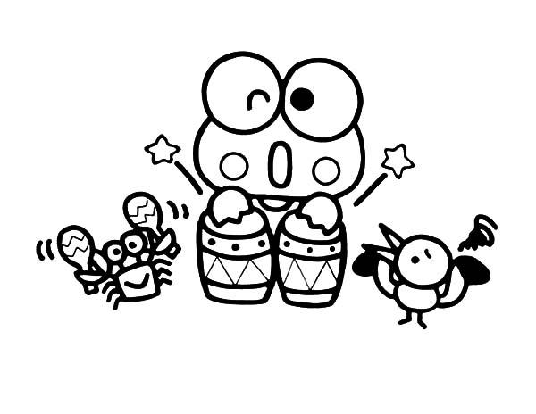 Keroppi, : Keroppi Playing Music Coloring Pages