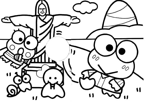 Keroppi, : Keroppi and Friends in Brazil Coloring Pages