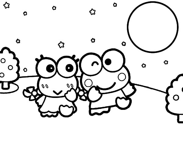 Keroppi, : Keroppi and Keroleen Date Night Coloring Pages