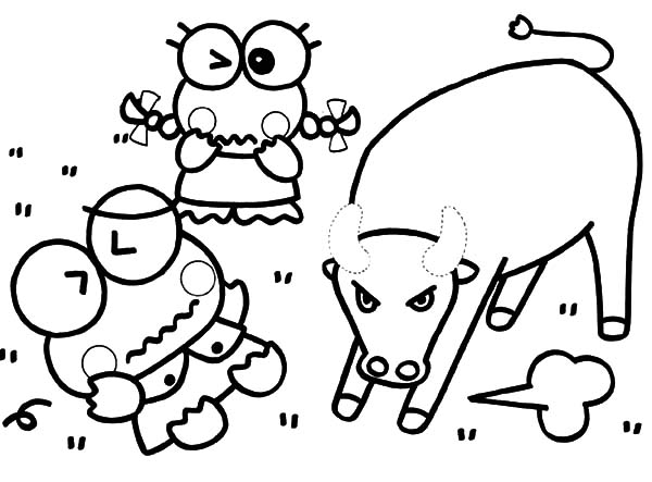 Keroppi, : Keroppi is Afraid of Mad Bull Coloring Pages