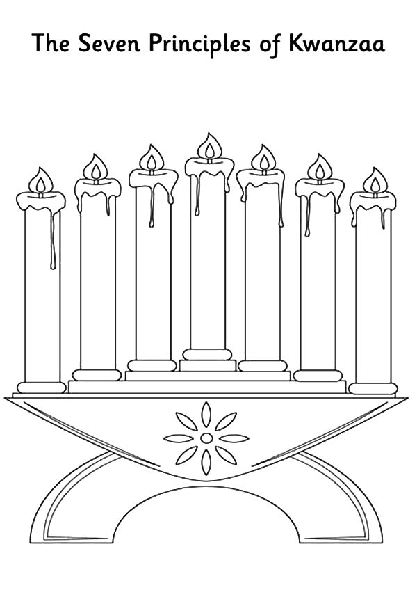 Kinara, : Kinara the Seven Principles of Kwanzaa Coloring Pages