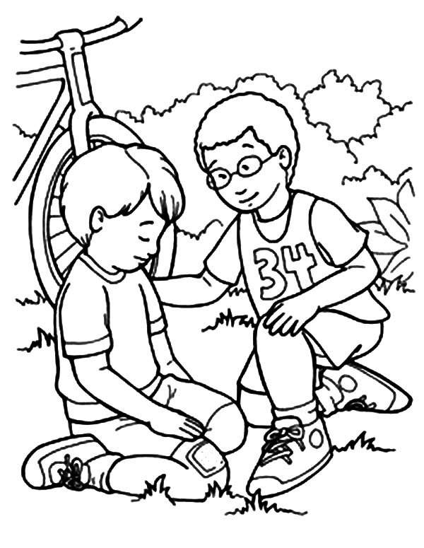 Kindness Helping Friend Falling From Bike Coloring Pages ...