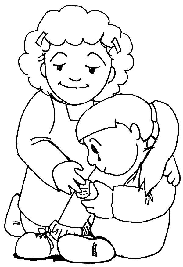 Kindness, : Kindness Mother Taking Care Her Daughter Coloring Pages