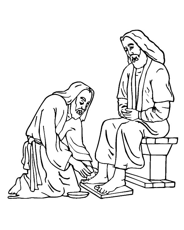 Kindness, : Kindness Washed Jesus Feet Colouring Pages