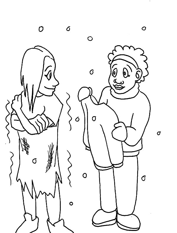 Kindness, : Kindness is Giving Clothes to Cold People Coloring Pages