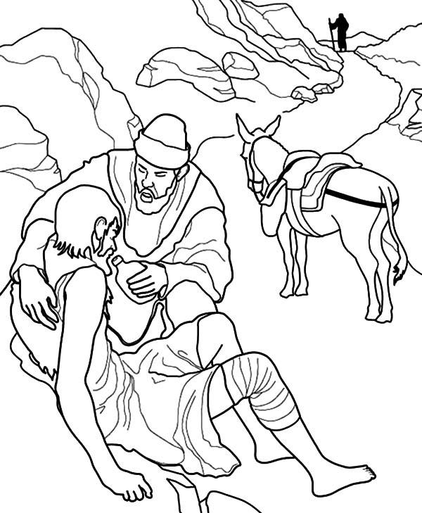 Kindness, : Kindness is Giving Water to Thirsty People Coloring Pages