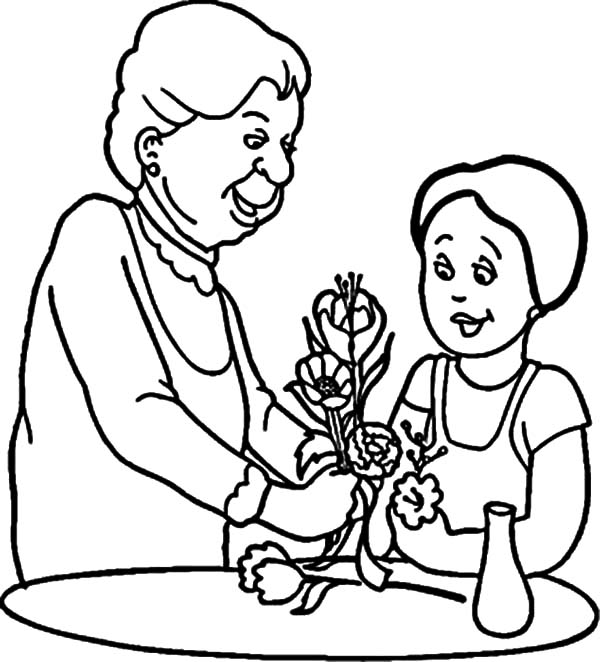 Kindness, : Kindness is Helping Grandma Arranging Flower Coloring Pages