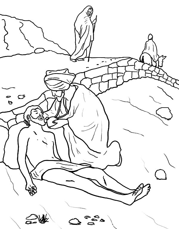 Kindness, : Kindness is Samaritan Who Give Water to Dying People Coloring Pages
