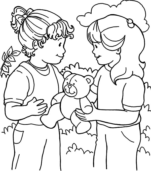 Kindness, : Kindness is Sharing Toys with Friend Together Coloring Pages