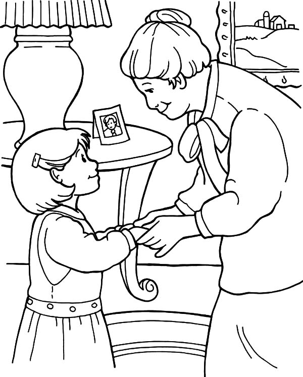 Kindness, : Kindness is Talking Sofly to Grandmother Coloring Pages