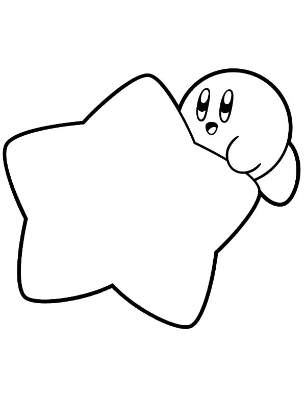 Kirby, : Kirby Hide Behind Star Coloring Pages