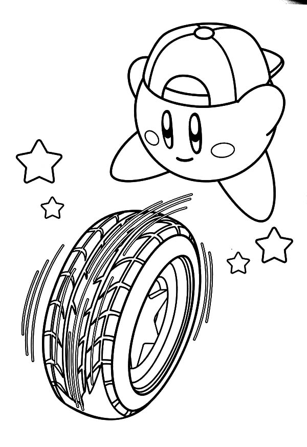 Kirby, : Kirby Rolling Tire Coloring Pages