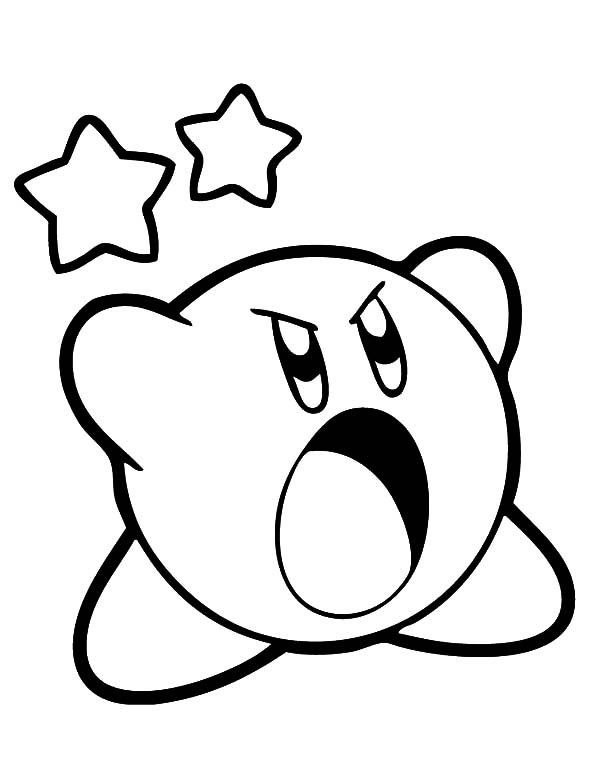 Kirby, : Kirby Scream Loud Coloring Pages