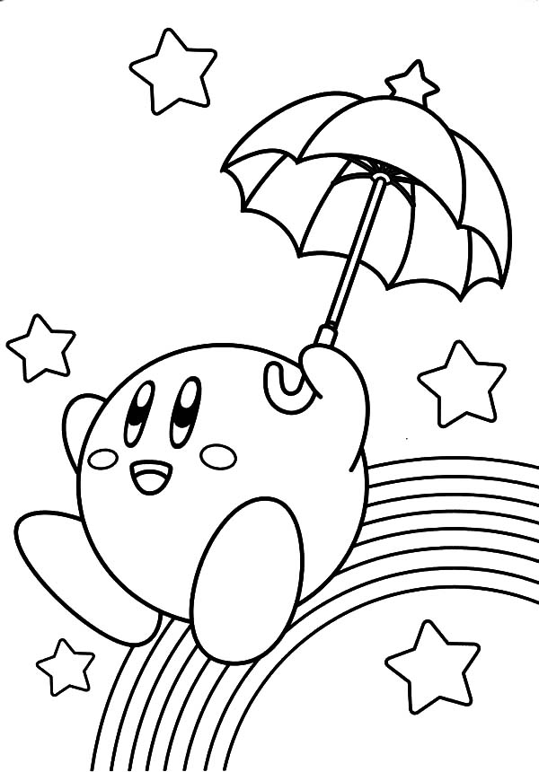 Kirby, : Kirby Slide Over Rainbow Coloring Pages