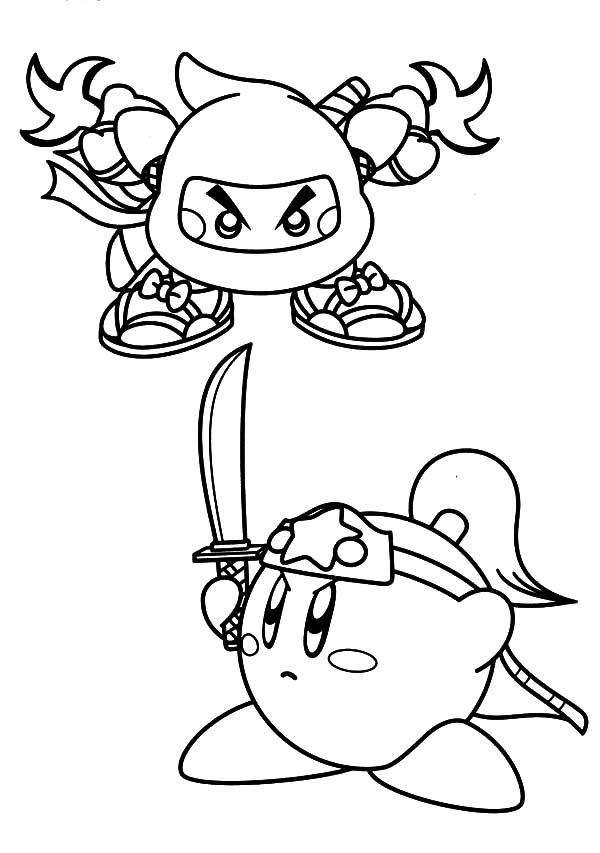 Kirby, : Kirby Versus Ninja Coloring Pages