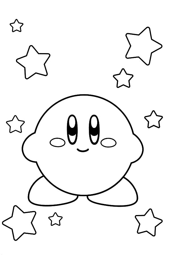 Kirby, : Kirby and Stars Coloring Pages