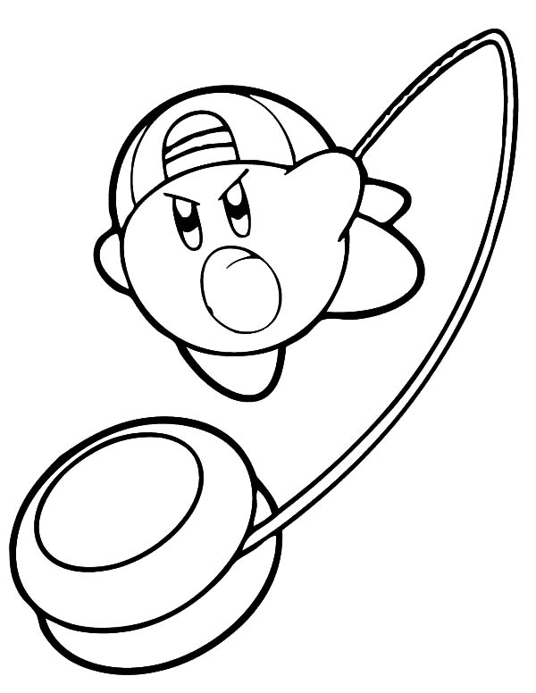 Kirby, : Kirby with Yo yo Weapon Coloring Pages