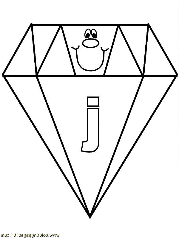 Diamond Shape, : Letter J on Diamond Shape Coloring Pages