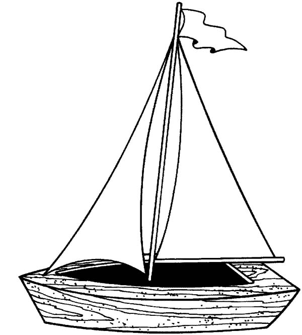Fishing Boat, : Little Sailing Fishing Boat Coloring Pages