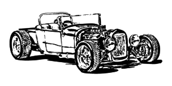 Hot Rod Cars, : Model T Hot Rod Cars Coloring Pages