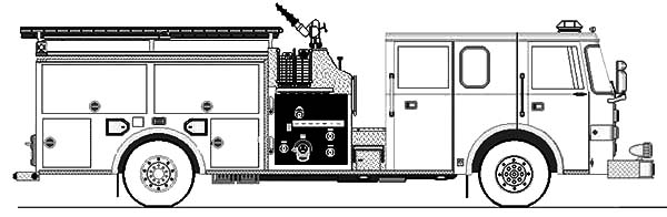 Fire Engine, : Modern Water Canon Fire Engine Coloring Pages