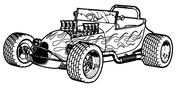 coloring pages cars antiques | Modified Hot Rod Cars Coloring Pages : Kids Play Color