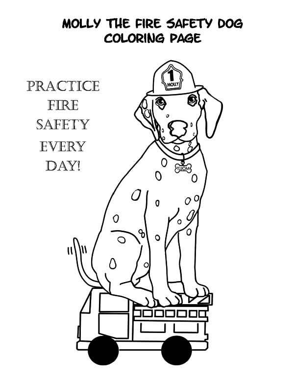 Fire Dog, : Molly the Fire Safety Dog Coloring Pages