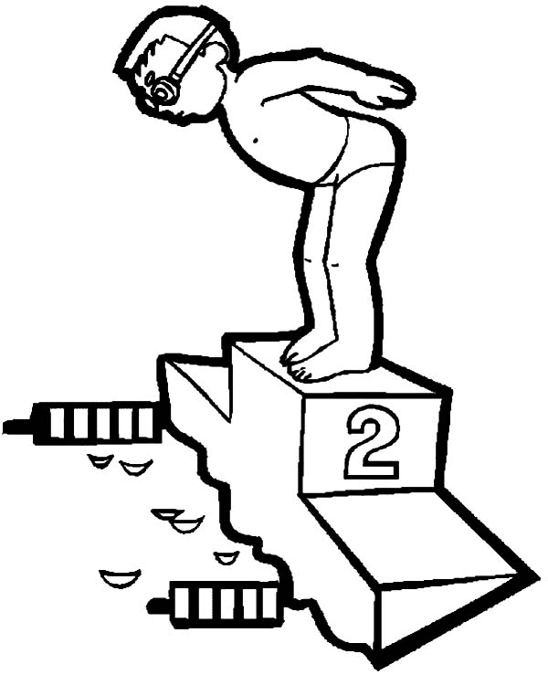 Exercise, : Olympic Swimmer Doing Exercise Coloring Pages
