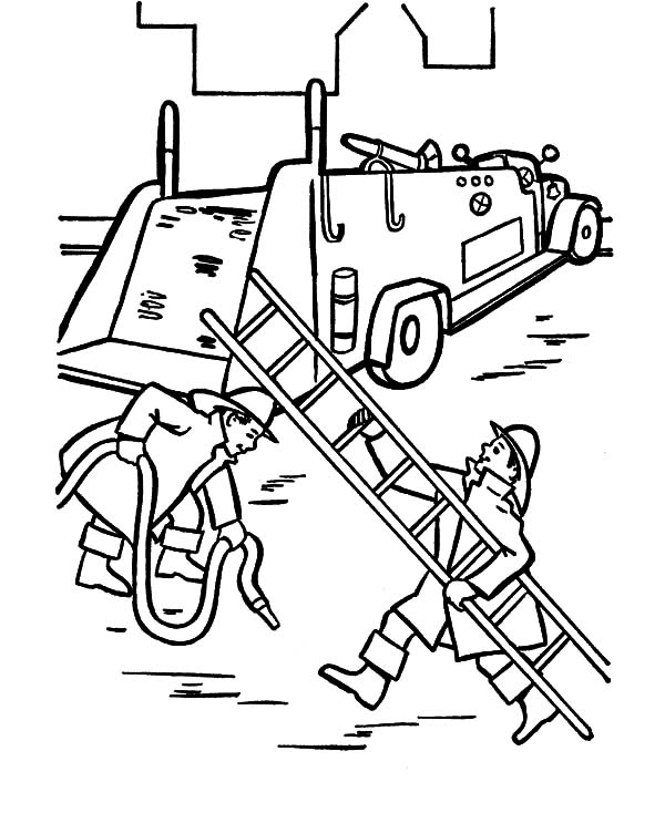 Fire Engine, : Preparing Fire Engine and Ladder Coloring Pages