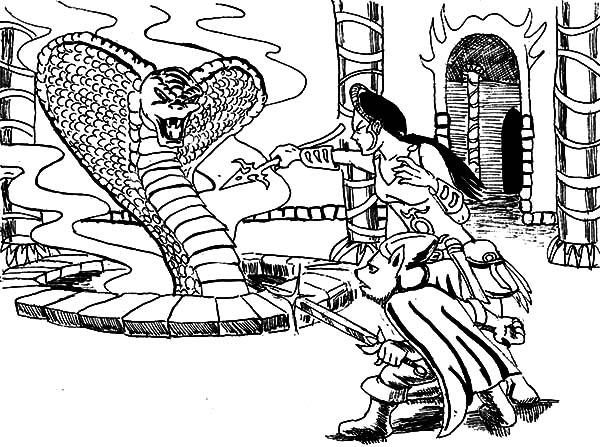 King Cobra, : Princess and King Cobra Coloring Pages