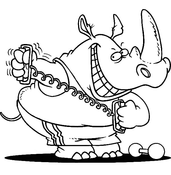 Exercise, : Rhino Exercise Using a Stretching Device Coloring Pages