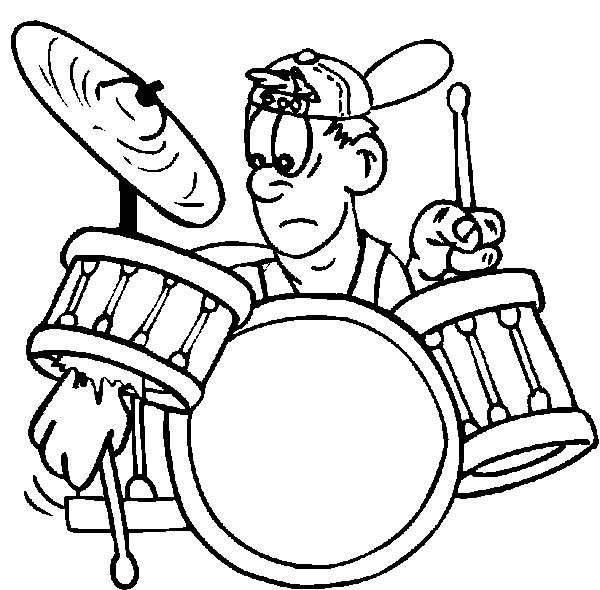 Drummer Boy, : Rock and Roll Drummer Boy Broke His Drum Kit Coloring Pages