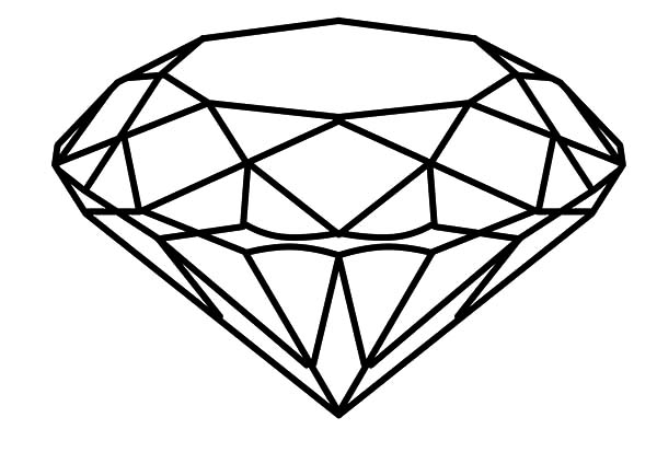 Diamond Shape, : Round Cut Diamond Shape Coloring Pages