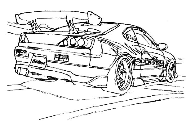 S15 Cars Drifting Trace Coloring
