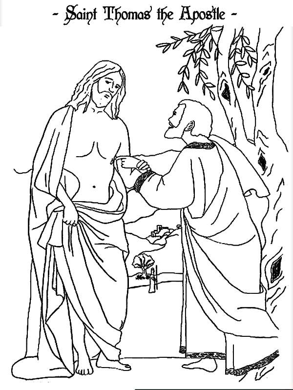 Doubting Thomas, : Saint Thomas Doubting Jesus Coloring Pages