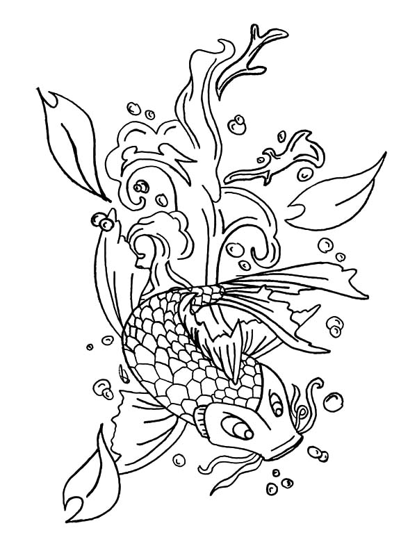 Coy Fish, : Sakura Blossom Coy Fish Coloring Pages
