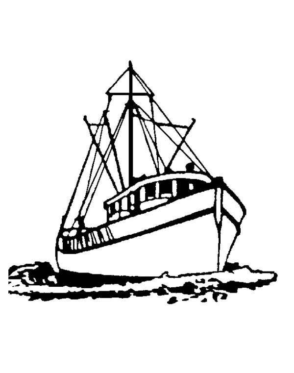 Set Sail Fishing Boat Coloring Pages Kids Play Color