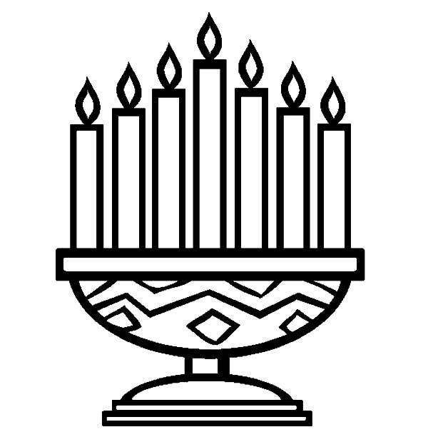 Kinara, : Seven Candles Kinara Coloring Pages