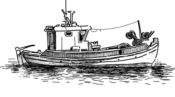 Fishing Boat, : Sketch of Fishing Boat Coloring Pages