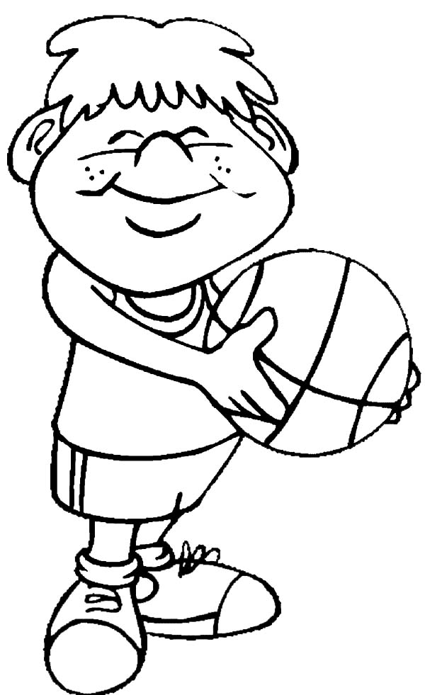 Smiling Boy Begin To Basketball Exercise Coloring Pages ...