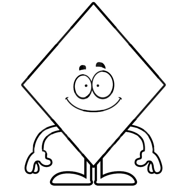Smiling Diamond Shape Coloring Pages Kids Play Color