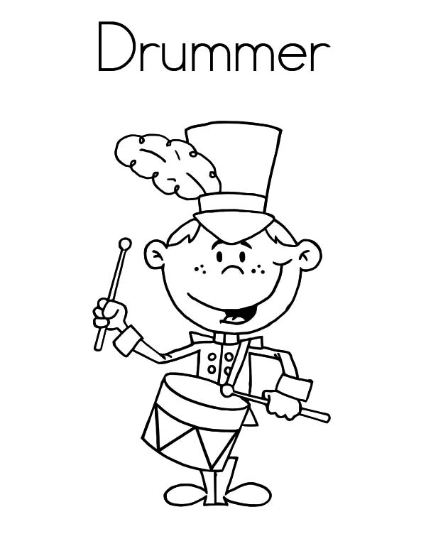 Drummer Boy, : Smiling Drummer Boy Coloring Pages