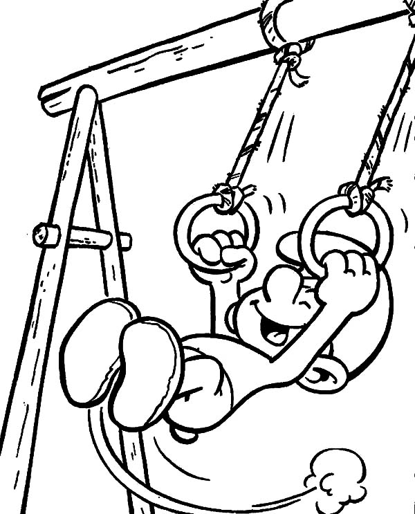 Exercise, : Smurf Holding on a Rope and Having Exercise Coloring Pages