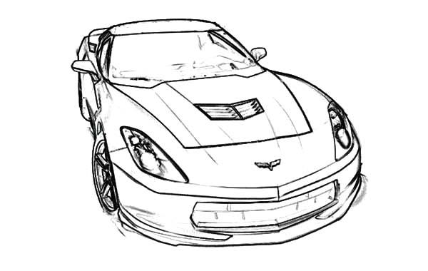 Corvette Cars, : Stingray C7 Corvette Cars Coloring Pages