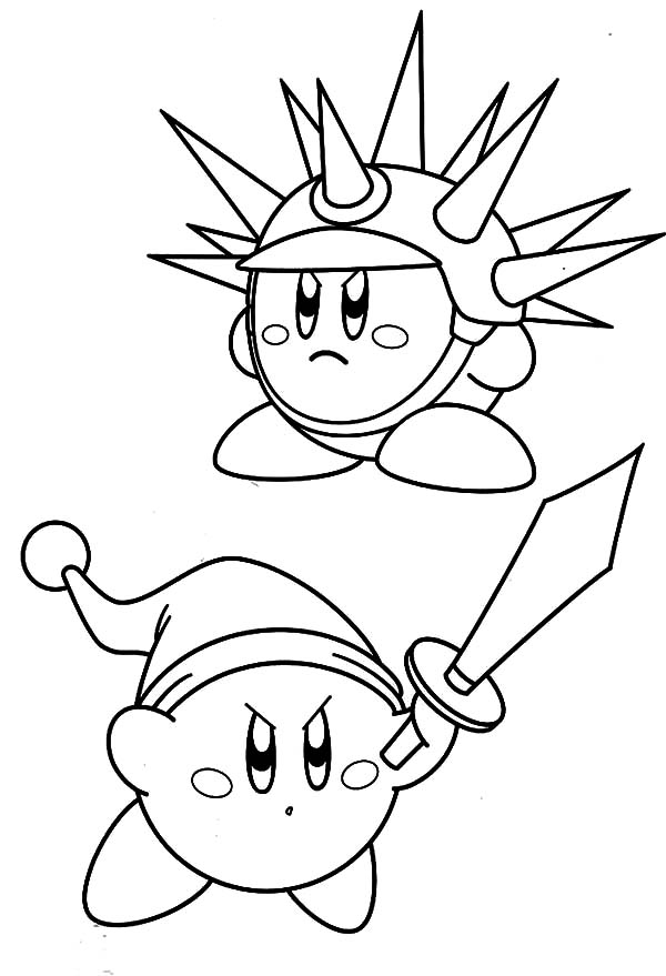 Kirby, : Sword Needle Kirby Coloring Pages
