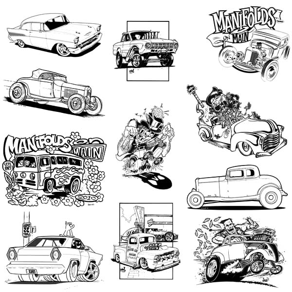 Hot Rod Cars, : Various Type of Hot Rod Cars Coloring Pages